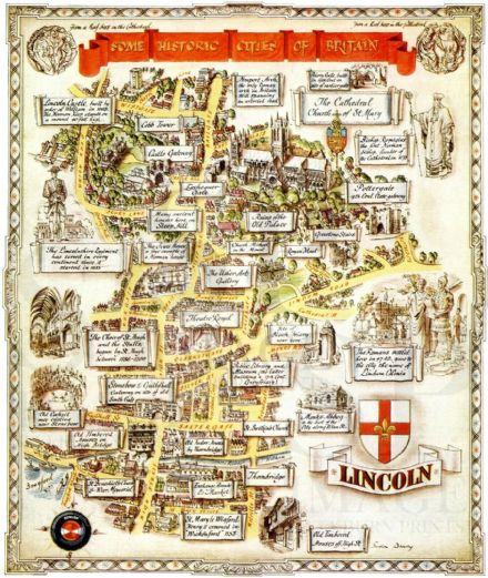 1948 Vintage Map LINCOLN Pictorial Plan ILLUSTRATED LONDON NEWS Advert